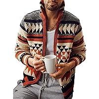 litty089 Abrigo, Otoño Invierno Hombres Cardigan De Manga Larga Tejido Jacquard Suéter Abrigo De Prendas De Vestir…