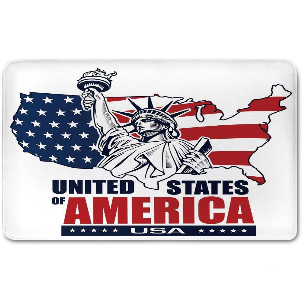 Memory Foam Bath Mat,USA Map,United States of America Typography Statue of Liberty Icon Illustration DecorativePlush Wanderlust Bathroom Decor Mat Rug Carpet with Anti-Slip Backing,Dark Blue Red Whit