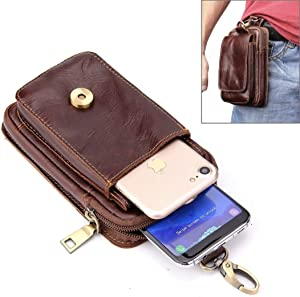 Mobile Phone Case Bag 5.5 inch and Below Universal Crazy Horse Texture Genuine Leather Men Vertical Style Case Waist Bag with Belt Hole for Sony, Huawei, Meizu, Lenovo, ASUS, Cubot, Oneplus, Xiaomi, U