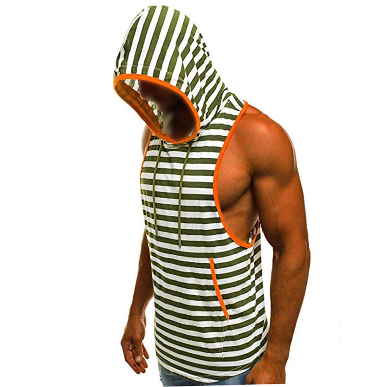 2019 Mens Summer Casual Stripe Print Hooded Sleeveless Tank Top Vest,Black,XXXL,United States