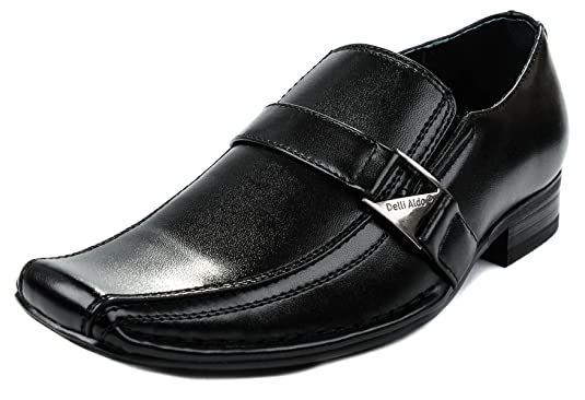Amazon.com | Delli Aldo Boys B99003 Black Formal Squared Toe Buckle Strap Lofer Shoes-3 | Loafers