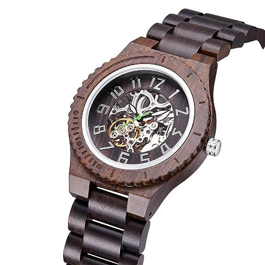 Reloj de Madera para Hombres ,Relojes mecánicos, Fecha Impermeable Reloj análogo Multifuncional de Digitaces