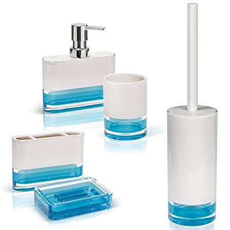 Attirant Tatkraft Topaz Blue Bathroom Accessories Set Of 5: Soap Dish, Liquid Soap  Dispenser,