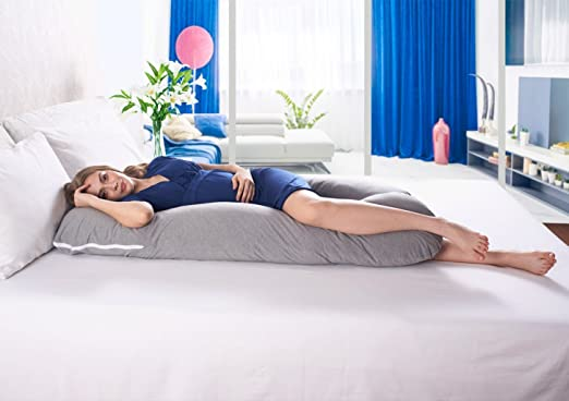 Ang Qi U-Shape Pregnancy Body Pillow with Washable Jersey Pillow Case
