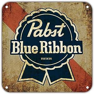 "BESTWD Pabst Blue Ribbon Beer Vintage Retro Metal Wall Decor Art Shop Man Cave Bar Garage Aluminum 12""x12"" Sign"