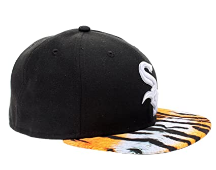 New Era 59Fifty Chicago White Sox Visor Real Tiger Mens Fitted Hat  5950-TIGERCHIWHI Black 29b8a28e688a