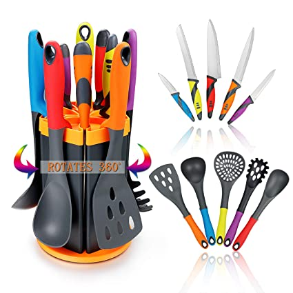 Cooking Utensils Set & Kitchen Knife Set - 5 Piece Nylon Nonstick Kitchen Utensil Set & 5 Piece Cook Knife Set with Rotating Knife & Utensil Holder - Kitchen Tools include Knife,Turner,Spatula & Spoon