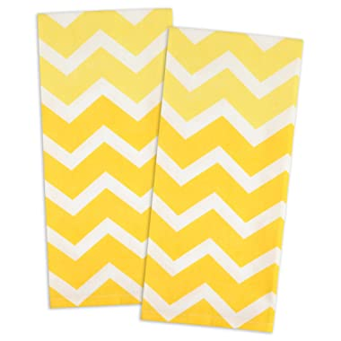 DII Cotton Ombre Chevron Dishtowels, 18 x 28  Set of 2, Oversized & Low Lint Tea Towels for Everday Kitchen Cooking and Baking-Yellow