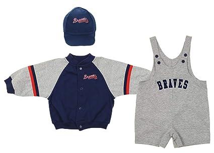 premium selection 34d46 85295 Mighty Mac Atlanta Braves MLB Baby Boys Infant 3 Piece Set Jacket Shortall  Cap, Blue/Grey