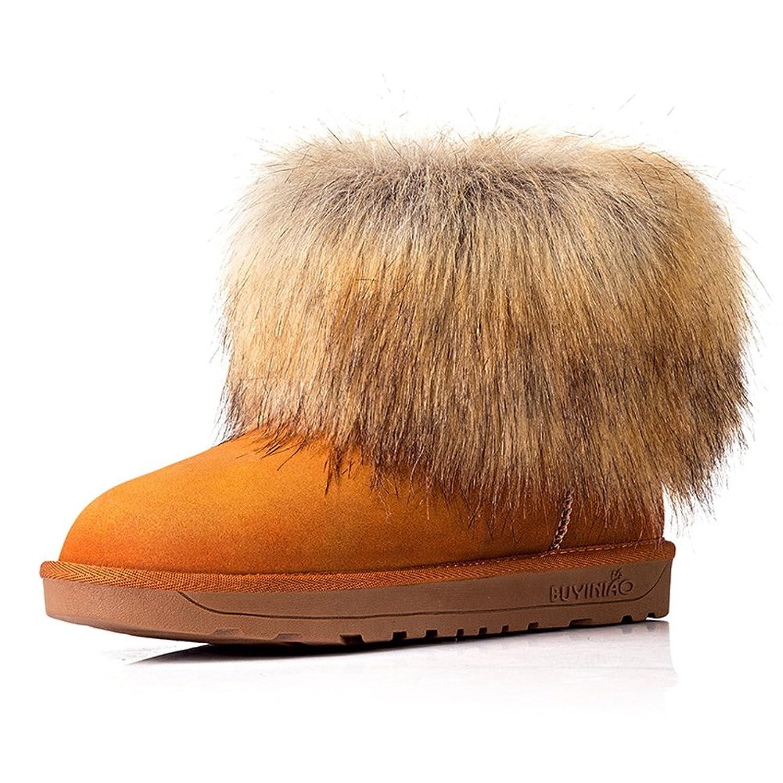 Women's Wrasse Rabbit Hair Winter Warm Flat Snow Boots