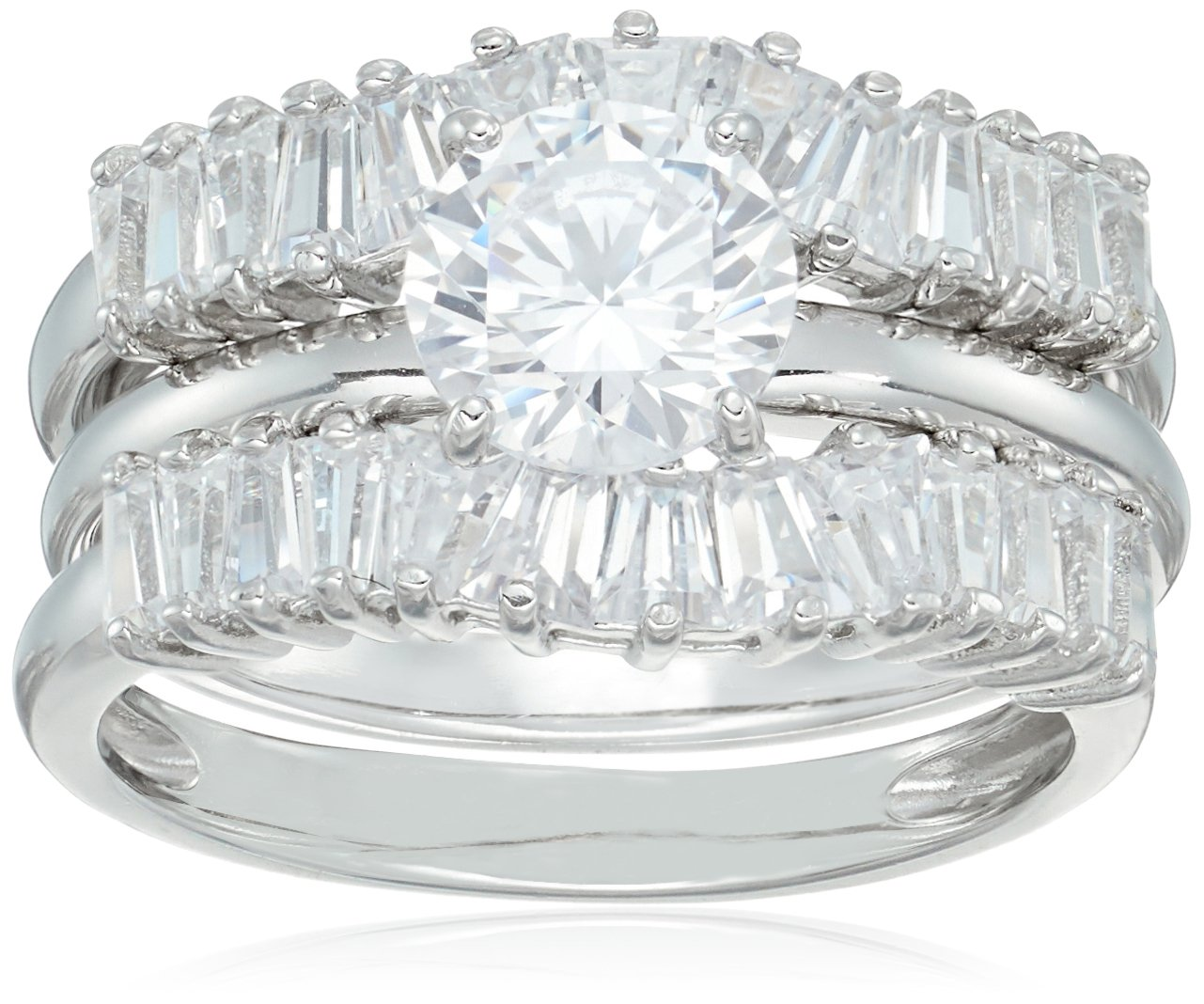 Platinum Plated Sterling Silver Cubic Zirconia Solitaire and Baguette Bands Bridal Wedding Ring Set, Size 7