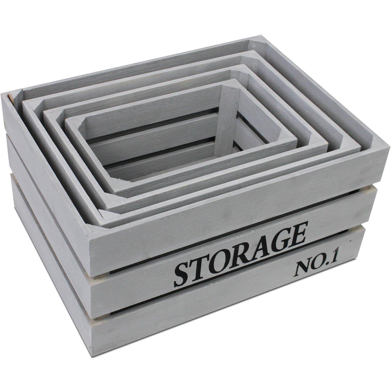 Cajas Set Storage gris caja de madera decorativa caja caja para guardar fruta (cajón multiusos: Amazon.es: Bricolaje y herramientas