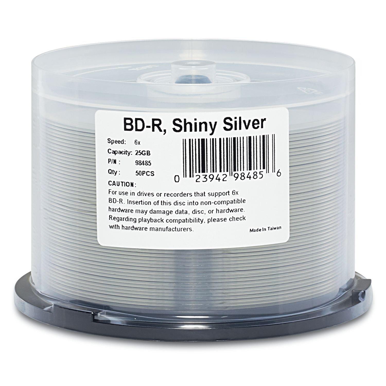 Verbatim DatalifePlus BD-R 25GB 6X Shiny Silver Silk Screen Printable, Hub Printable - 50pk Spindle VERBATIM CORPORATION 98485