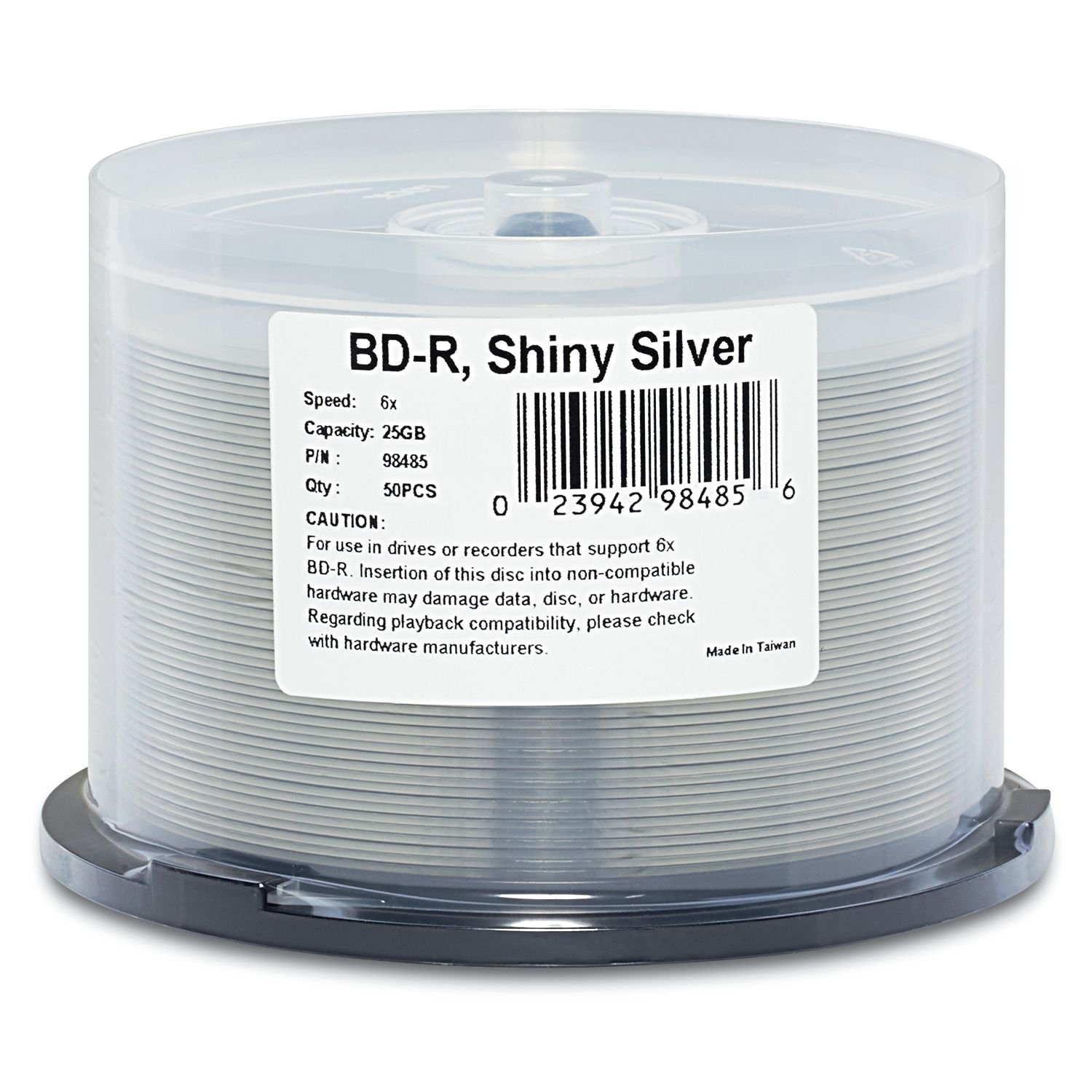 Verbatim BD-R 25GB 6X Shiny Silver Silk Screen Printable, Hub Printable - 50pk Spindle 98485