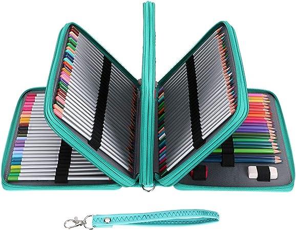 BTSKY Estuche para 200 Lápices y Rotuladores Organizador Escritorio de Piel Sintética de Colores 5 Capas, Bolsa Organizador de Papelería Rosa para Lapices Pinceles Gomas (No hay los lápices): Amazon.es: Hogar