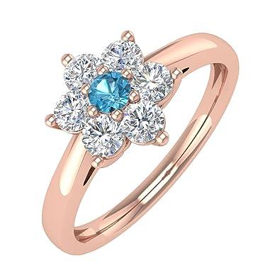 14k Gold White Diamond Blue Topaz Star Shaped Engagement Ring