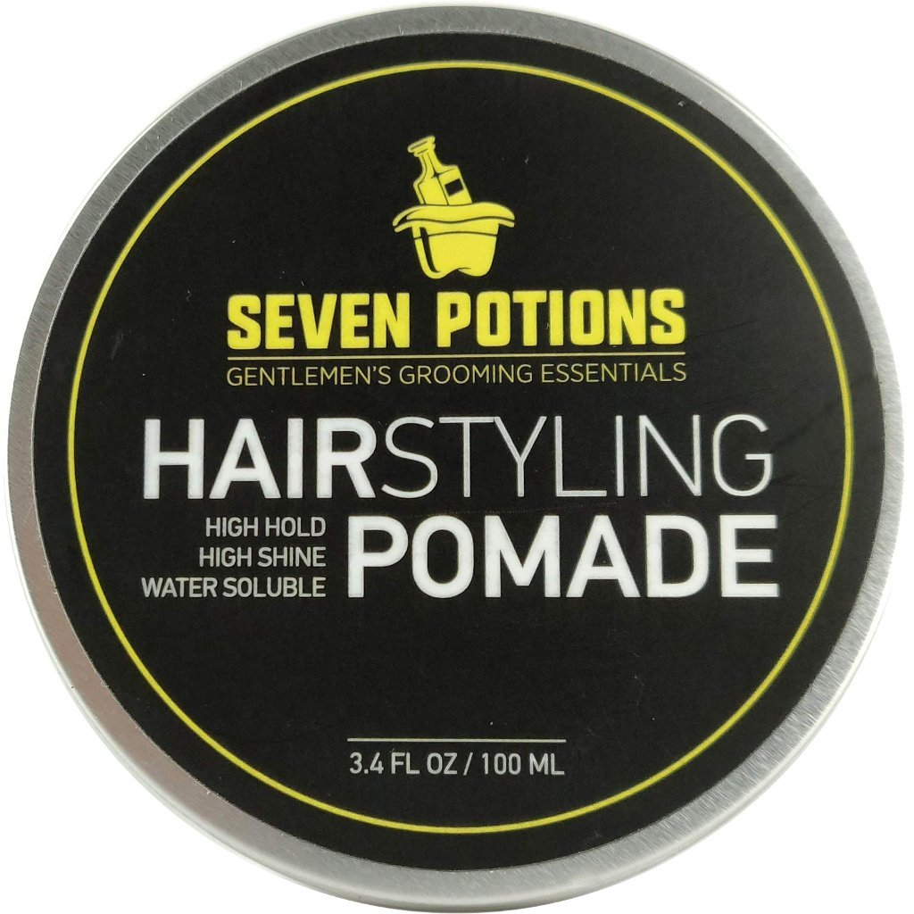 Hair Styling Pomade For Men 100ml - High Shine - High Hold - Water Based - Natural, Organic, Vegan, Cruelty Free Seven Potions