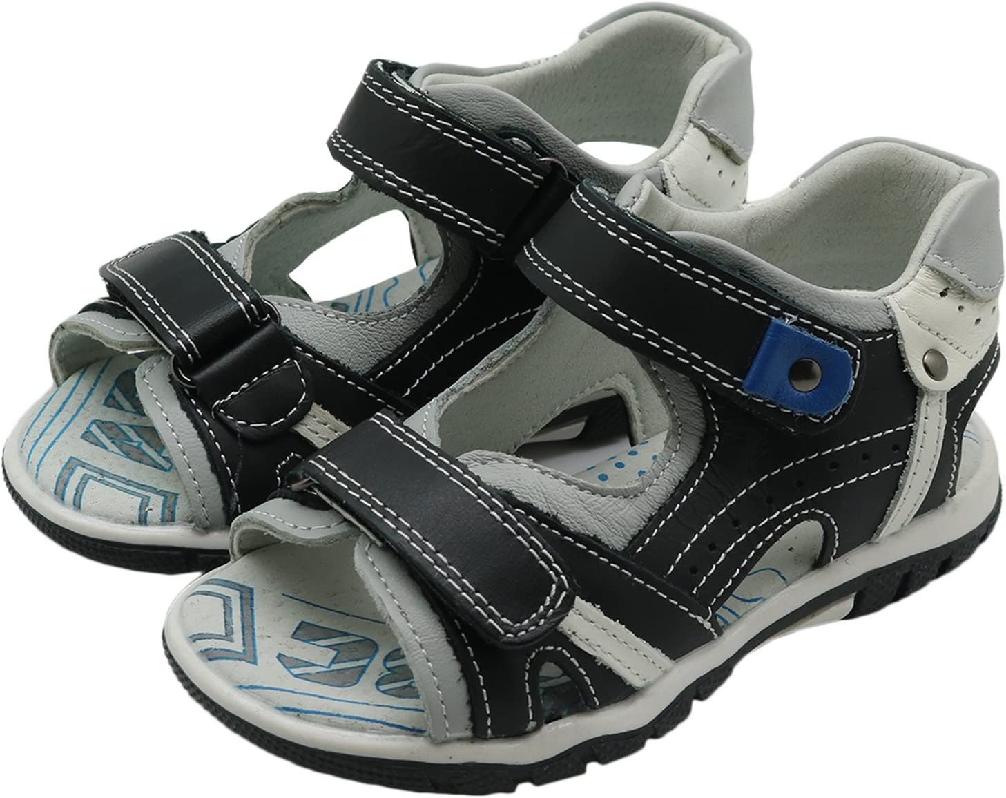 Durable Color : Black330 , Size : 12.5 M US Little Kid Toddler Kid XM-Childrens shoes Non-Slip Boys Double Adjustable Strap Leather Sandals with Arch Support