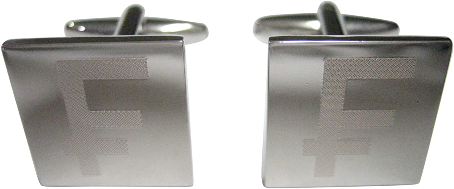 Kiola Designs Silver Toned Etched Swiss Franc Currency Sign Cufflinks