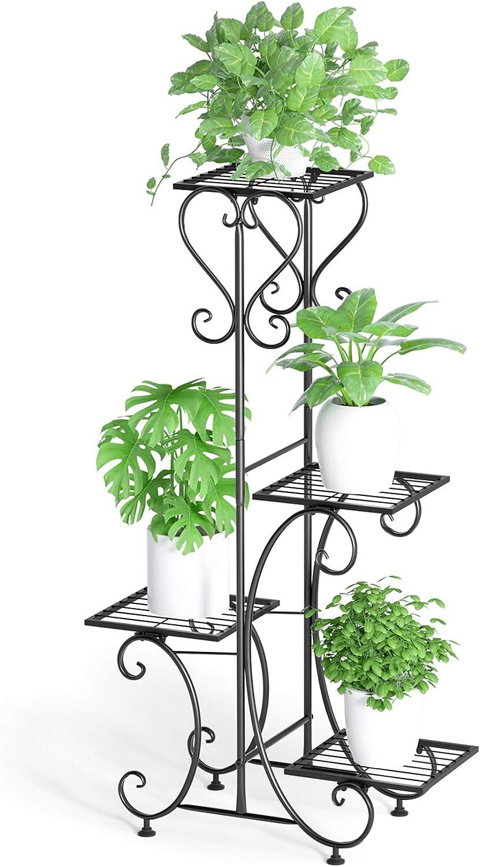 4 Holder Metal Flower Plant Pot Shelf Stand Garden Terrace Florist Display Rack