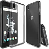 OnePlus X Case,Ringke [Fusion] Crystal Clear PC Back TPU Bumper w/ Screen Protector [Drop Protection/Shock Absorption Technology][Attached Dust Cap] For OnePlus X - Smoke Black