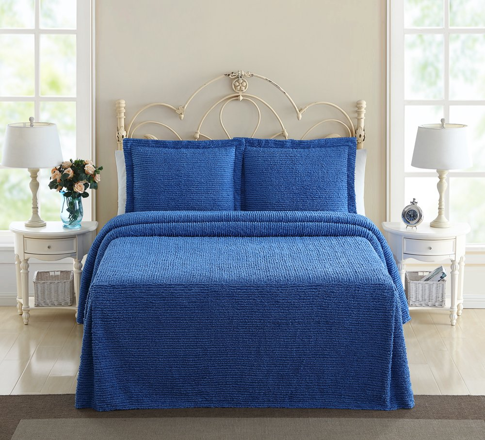 Ellison Richland Chenille Solid, Full, Blue Bedspread,