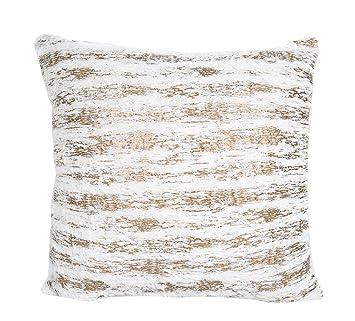 Tonpot Funda de Cojín para sofá, Cama, Silla (1 Unidad), Diseño Cuadrado, Dorado, 45 x 45cm