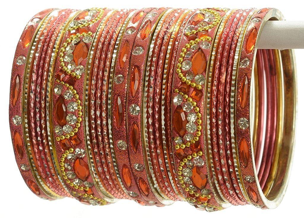 Indian Bangles Set of 26 Ethnic Bracelets Bridal Churi Kangan Peach 2-4