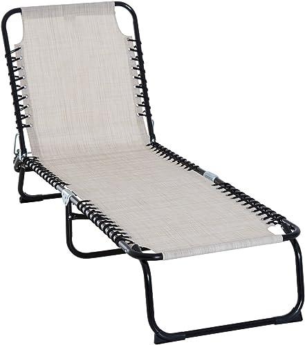 Tidyard Folding Outdoor Sun Lounger Backrest and Footrest Adjustable Recliner Lounge Chaise Chair Portable Balcony Beach Patio Pool Deck Backyard Garden Furniture Cream White