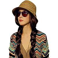 ZUMUii Butterme Striped Straw Homburg Sombrero Corto Brim Plegable Sombrero Playa Tiene Cubo Sombrero Sombrero de Paja…