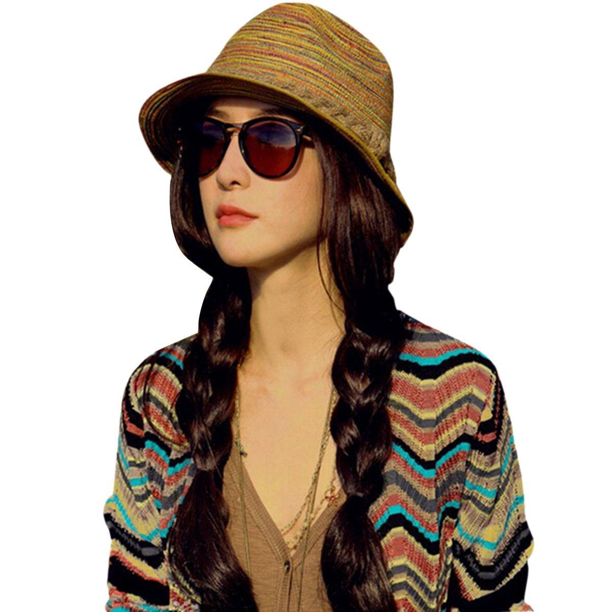 Bucket Hat for Ladies Women Girls ZUMUii Butterme Colourful Striped Straw Homburg Hat Short Brim Cap Sun Hat Beach Hat Bucket Hat Straw Hat Summer Sun Hat