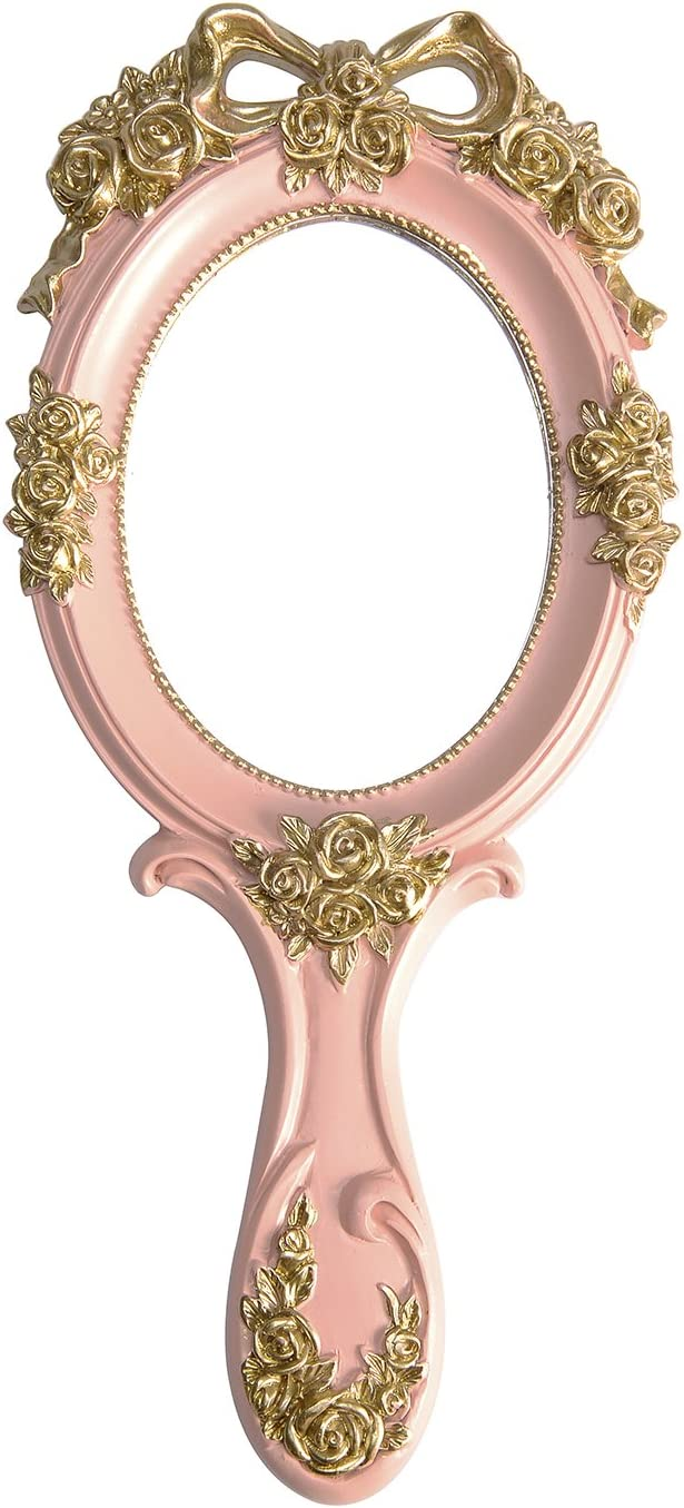 Nerien Vintage Style Rose Hand Held Mirror Princess Oval Vanity Mirror Pink