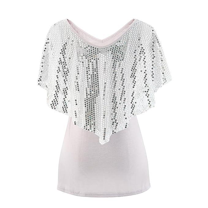 d74b39b6c1cf77 CHARMGIRL Women Sexy V-Neck Sequins T - Shirt Batwing Sleeve Cotton ...