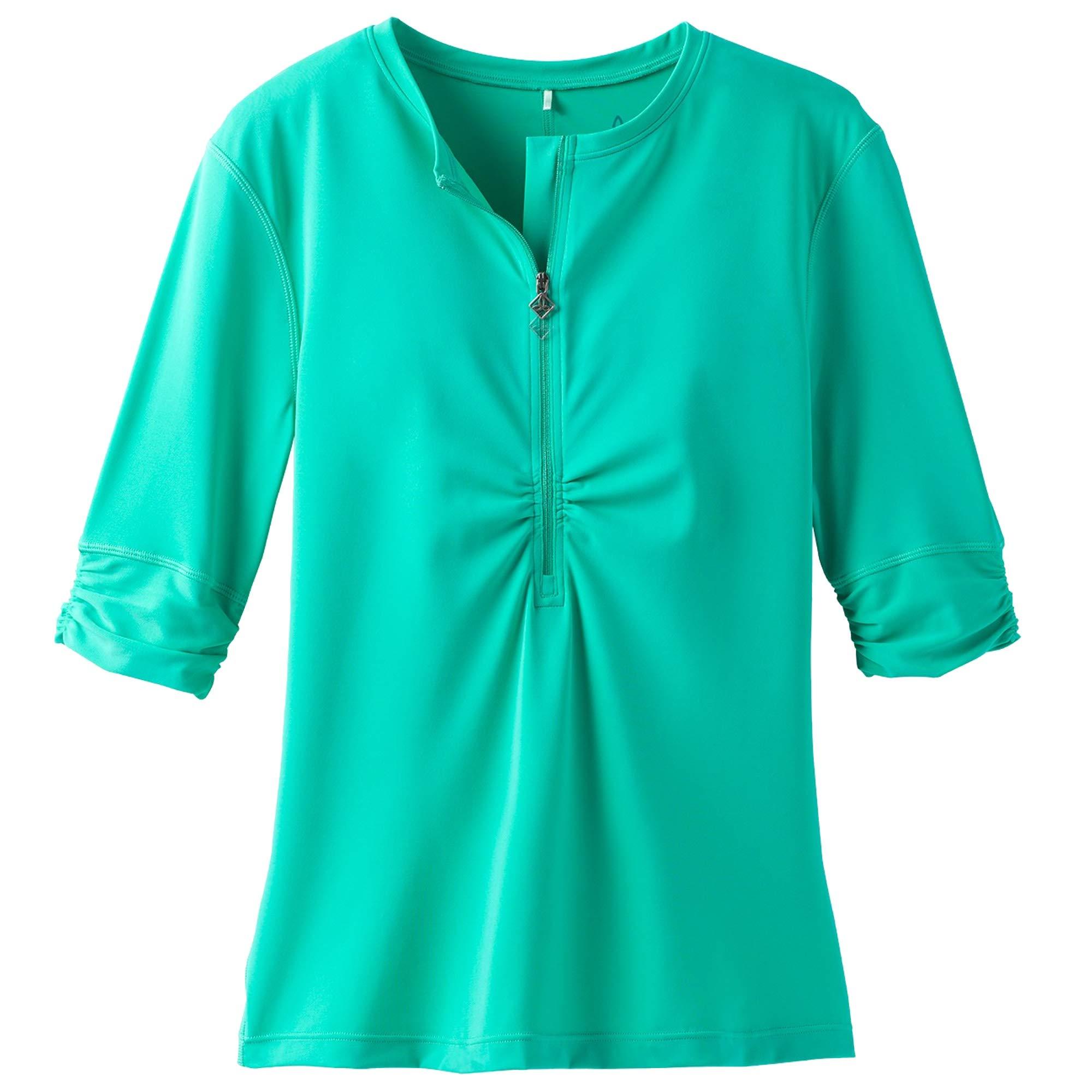 prAna Women's Perry Short Sleeve Sun Top, Aqua Wave, Medium