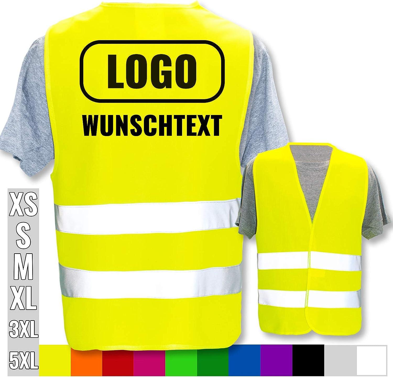 Brust Farbe Warnweste Druckposition:R/ücken Warnweste Bedruckt mit Ihrem Name Text Bild Logo * echte Reflex-Leuchtstreifen * personalisiertes Design selbst gestalten Gr/ö/ße:Neon Gr/ün 3XL//4XL