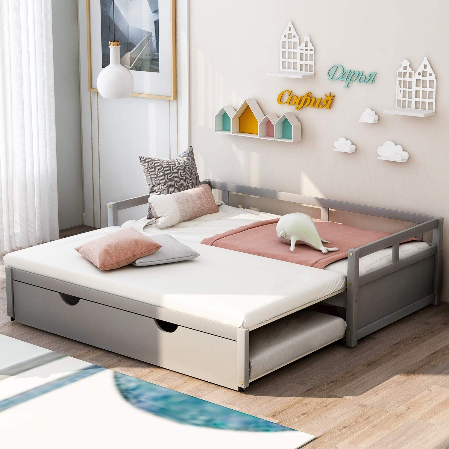 Merax Wooden Extendable Bed, Twin to King Daybed Frame for Bedroom Living Room, No Box Spring Needed, Trundle, Gray