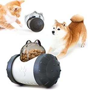 SUDUN Pet Food Dispenser, Fun Swing Car Bear Tumbler Slow Feeder Interactive Rolling Cats and Dogs Food Leaker Toys Multifunctional Pet Training Toys for Indoor Pet Educational Toys (Black+White)