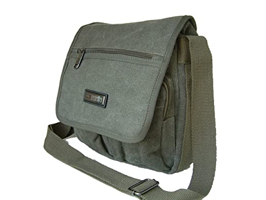 8b6cd1fc9e Man Bag in Heavy Duty Military Green Cotton Canvas by Rocklands Ariana   Amazon.co.uk  Clothing