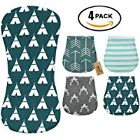 iZiv 4 PACK Baby Burp Cloths Feeding Nursing Towel Accessory, 3 Layers Absorbent Printing Soft Cotton 0-2 Years(Color-3)