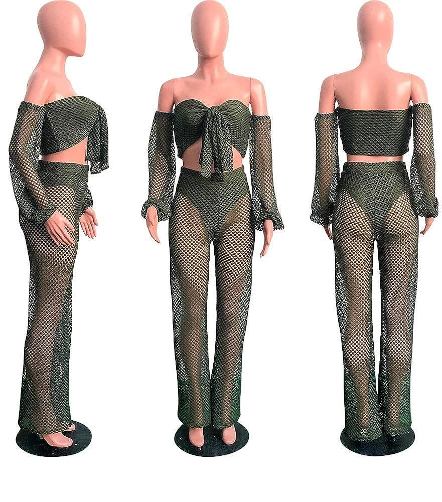 d7778e94f06b Amazon.com  Uni Clau Womens Hollow Out 2 Piece Outfits Tie Front Bandeau Top  and Wide Leg Long Pants Jumpsuit Set  Clothing