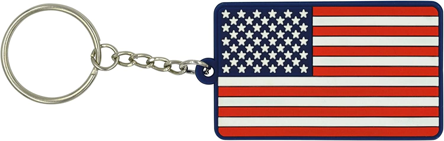 Backpacks Cars Red White Blue Soft PVC Rubber Motorcycles Luggage Great 1 Products American Flag Keychain with Key Ring EDC Keys and Gifts