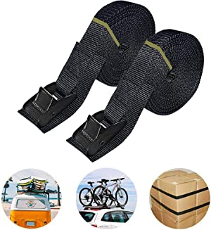 16ft Tie Down Straps, Lashing Straps Heavy Duty up to 700lbs,Adjustable Cam Buckle Tie-Down Straps for Motorcycle, Cargo, Trucks,Trailer,SUP, Kayak, Luggage- Black 2 Pack