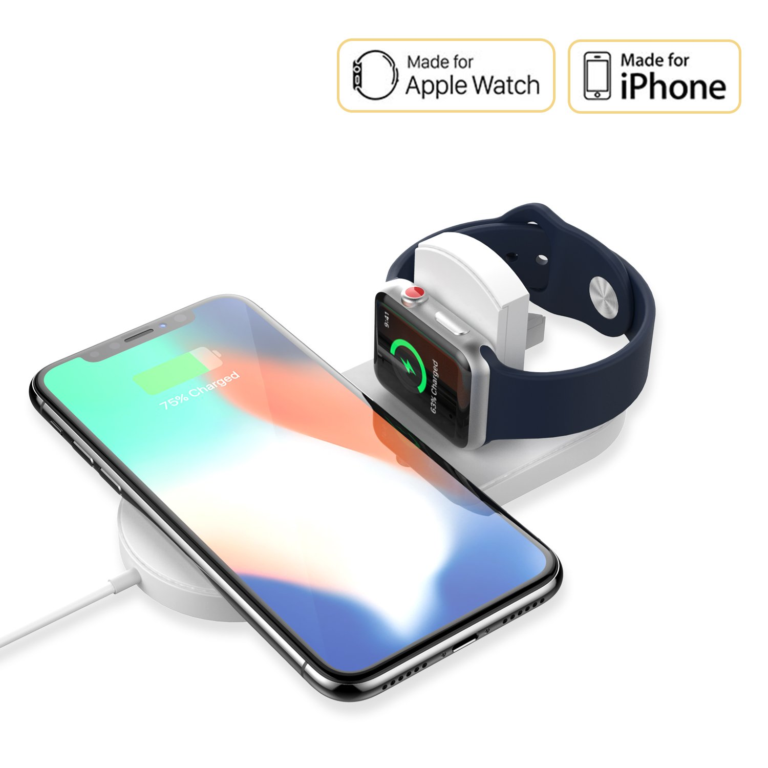 Apple Watch Charger – EXCITINGPOWER Ultra Slim Wireless Charger, Super Compact Wireless Charger for iPhone x & Apple Watch Series 2/3, Samsung Galaxy S8/S9 plus, 2 in 1 Qi Wireless Charger Pad