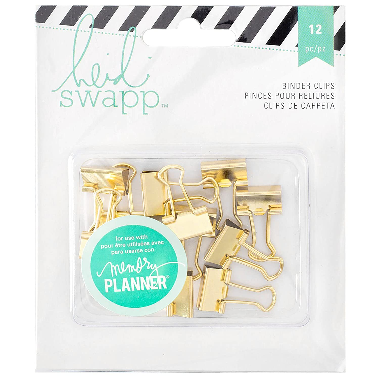Heidi Swapp 312568 12 Piece Memory Planner Binder Clips with Gold Foil Finish Notions