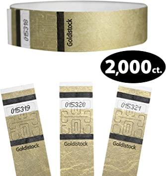 """/¾/"""" Arm Bands Heavier Tyvek Wrist Bands = Upgrading Your Event Paper-Like Party Armbands Tyvek Wristbands Goldistock Original Series Metallic Gold 1,000 Count"""