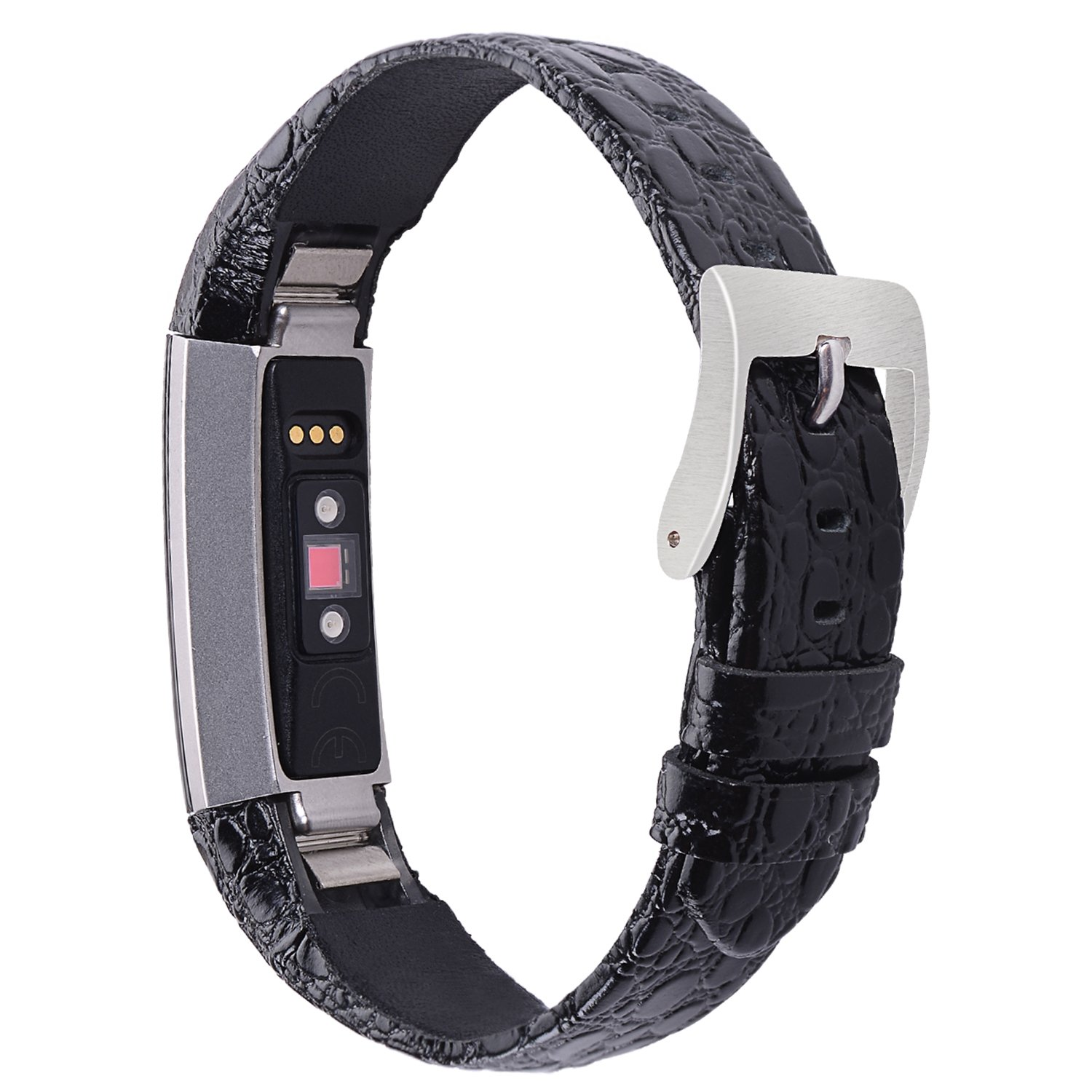 iGK For Fitbit Alta Bands/Fitbit Alta HR Bands, Genuine Leather Replacement  Bands for Fitbit Alta/Fitbit Alta HR Black Stone