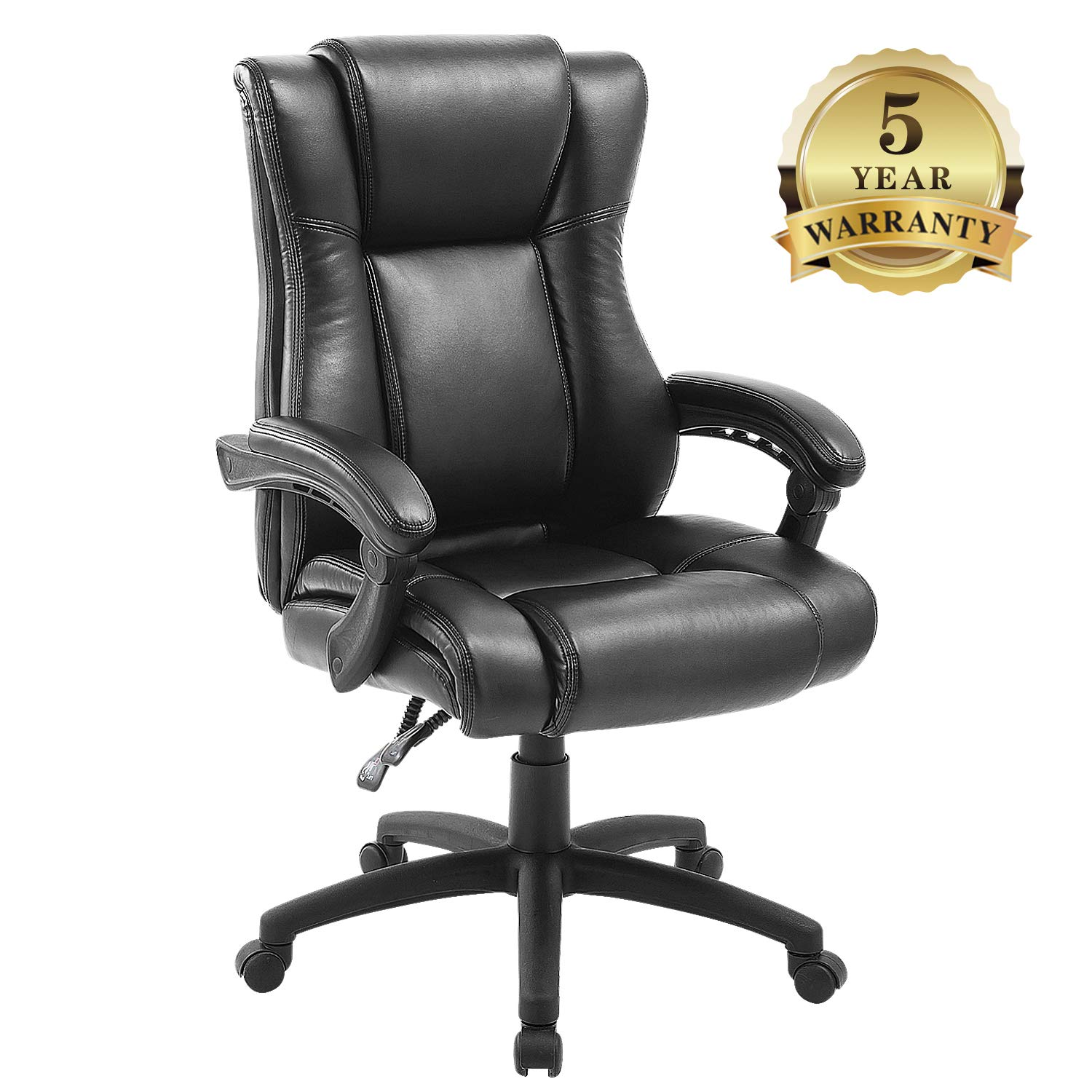 Executive Office Chair with Black Leather, Swivel Managerial Desk Chair with Heavy Duty Padded, Ergonomic Computer Gaming Chair with Adjustable Seat and Backrest