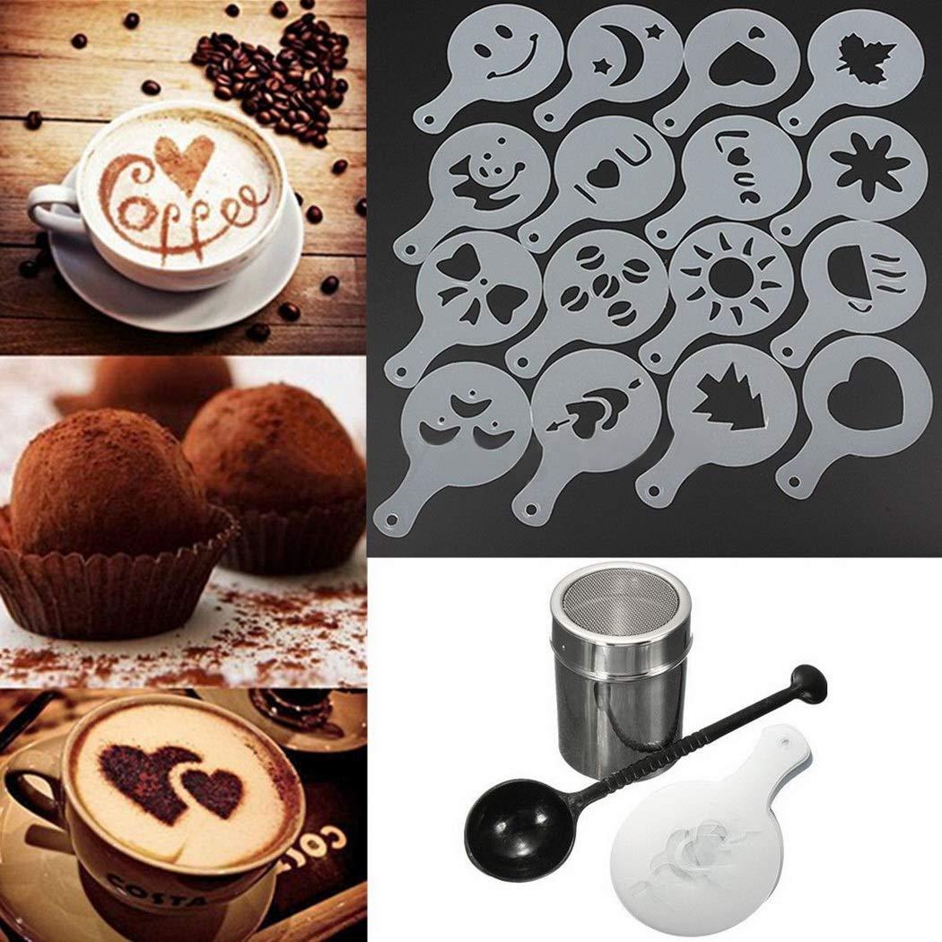 Kitchen Tea Coffee Tools Set Coffee Shaker Chocolate Duster 16pcs Milk Foam Stencils