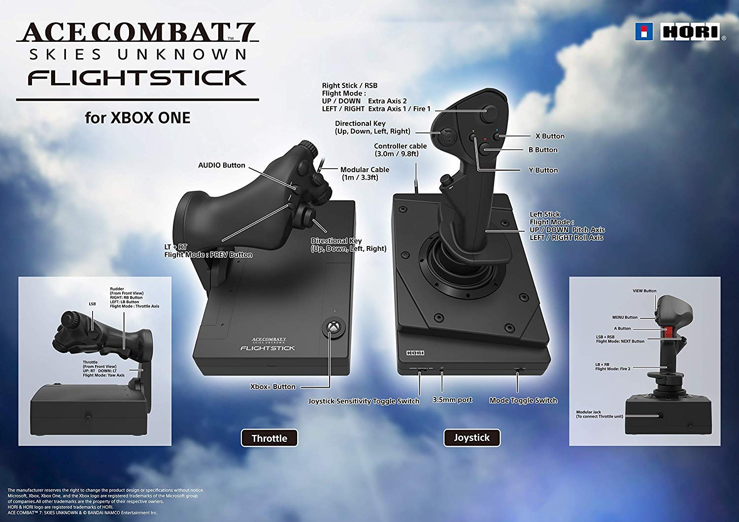 HORI Ace Combat 7 Hotas Flight Stick for Xbox One - Officially Licensed by Microsoft & Bandai Namco Entertainment - Xbox One by Hori (Image #6)