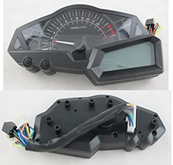 199km/h LCD Digital Velocímetro Tacómetro Cuentakilómetros Presión de aceite Warning light EFI Ingeniero Motocicleta
